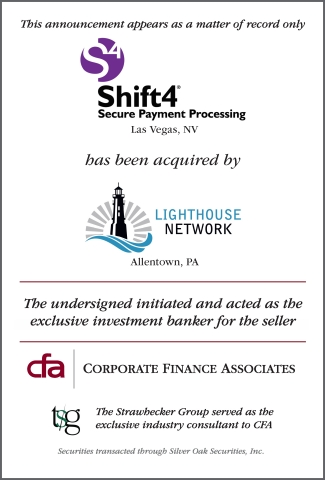 The Strawhecker Group Advises CFA in Shift4's Acquisition by Lighthouse Network (Graphic: TSG)