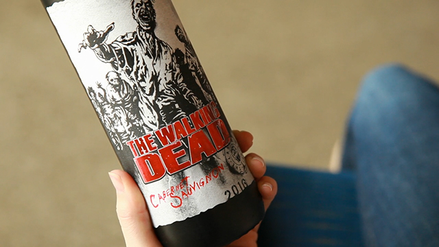 The Living Wine Label app uses augmented reality to bring different experiences forward when you point at The Walking Dead label