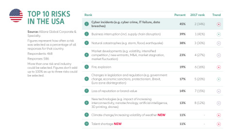 Cyber leads as top US business risk for first time (Graphic: Business Wire)