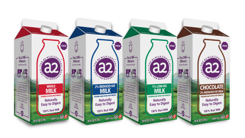 a2 Milk®'s products include Whole, 2% Reduced Fat, 1% Low Fat and Chocolate 2% Reduced Fat (Photo: B ...