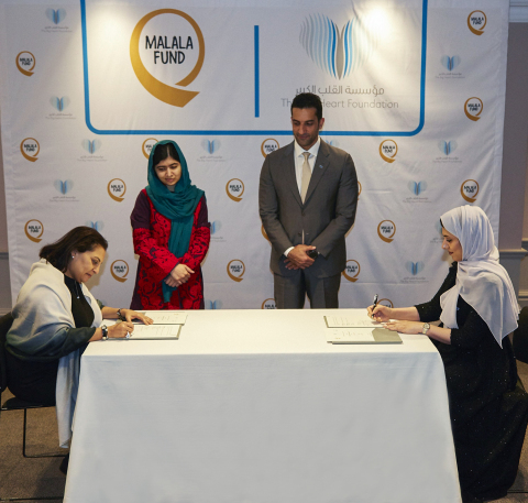 Sheikh Sultan bin Ahmed Al Qasimi and Malala Yousafzai witnessing the signing between TBHF and Malala Fund - Source: The Big Heart Foundation