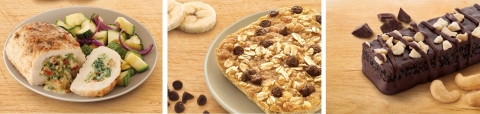 New foods on the Nutrisystem menu include Artichoke and Spinach-Stuffed Chicken Breast, Baked Banana Chocolate Oatmeal and Chocolate Cashew Nut Bar. (Photo: Business Wire)