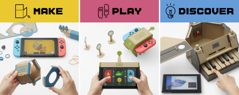 Make, Play, and Discover with Nintendo Labo! Simply have fun making DIY cardboard creations called Toy-Con, bring them to life with the technology of the Nintendo Switch system to play games, and discover the magic behind how Toy-Con works. The Nintendo Labo Variety Kit includes five different projects to Make, Play, and Discover: two Toy-Con RC Cars, a Toy-Con Fishing Rod, a Toy-Con House, a Toy-Con Motorbike, and a Toy-Con Piano. Nintendo Switch system required (sold separately). (Graphic: Business Wire)