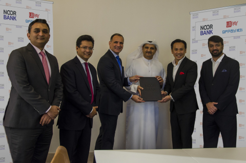 From Left to Right: Amin Hashmi, GTS Cash Product Manager & Service Delivery Head, Corporate Banking, Nook Bank; Ehsaan Ahmed, Head of GTS & Corporate Strategy, Corporate Banking, Noor Bank; John Iossifidis, CEO, Noor Bank; Ahmed Alrafi, Managing Director, UB QFPay; Patrick Ngan, Co-Founder & President, QFPay; Kazim Kirmani, GM, UB QFPay (Photo: Business Wire)