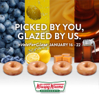 For the first time ever, Krispy Kreme fans will have the chance to vote today through Jan. 22 for creation of an all-new Glazed Doughnut flavor. Will it be blueberry, caramel, lemon or maple? (Photo: Business Wire)