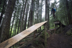 Under heavy rain, two mountain bikers put LP Legacy premium sub-flooring to an extreme test to showcase its strength and moisture resistance. (Photo: Business Wire)