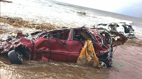 "Alicia Journey, a local attorney with the California Fire Lawyers, found the destroyed remains of her car on the beach in Montecito following the devastating ""Thomas Flood"" Mudslides. (Photo: Business Wire)"