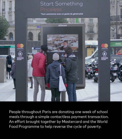 Mastercard has installed interactive donation billboards around Paris that allow passers-by to donate a week of school meals for one euro via contactless payments, simply by holding up their phone or card. See the magic happen here. In partnership with the World Food Programme, Mastercard is committed to delivering 100 million school meals by June 2018 and ultimately contribute to reversing the cycle of poverty. People are invited to join the #StartSomethingPriceless movement by making a pledge. Share it with @Mastercard on Instagram or Twitter through a photo, video or a simple statement. (Photo: Business Wire)