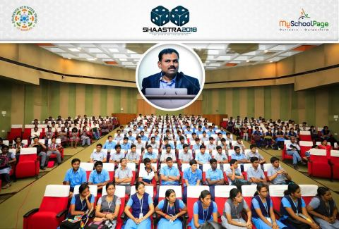 Venkat Phanikiran, COO, MySchoolPage, addressing the school students at Shaastra Tech-Fest in IIT Madras (Photo: Business Wire)
