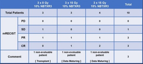 Data presented are based on local assessment on target lesions by mRECIST via MRI. (Graphic: NANOBIO ...