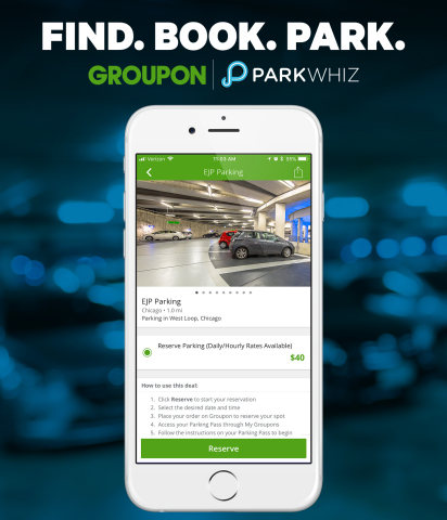 Thanks to a strategic partnership with ParkWhiz, Groupon now offers convenient parking that you can find and pay for using the Groupon app. (Graphic: Business Wire)