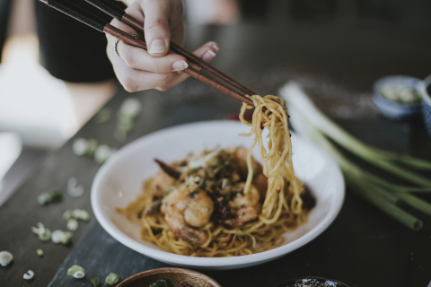 When celebrating Chinese New Year, the longer, uncut noodles in P.F. Chang's Long Life Noodles & Prawns symbolize longevity. Tradition has it that eating a bowl of noodles could increase your lifespan. (Photo: Business Wire)
