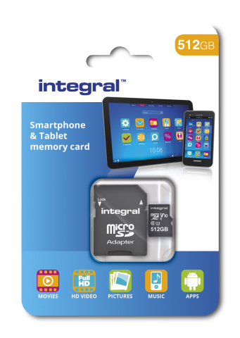 Integral 512GB Smartphone & Tablet microSDXC packaging (Photo: Business Wire)