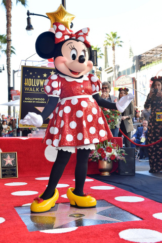 LOS ANGELES, CA - JANUARY 22: Minnie Mouse Receives Star on Hollywood Walk of Fame in Celebration of her 90th Anniversary at El Capitan Theatre on January 22, 2018 in Los Angeles, California. (Photo by Stefanie Keenan/Getty Images for Disney)