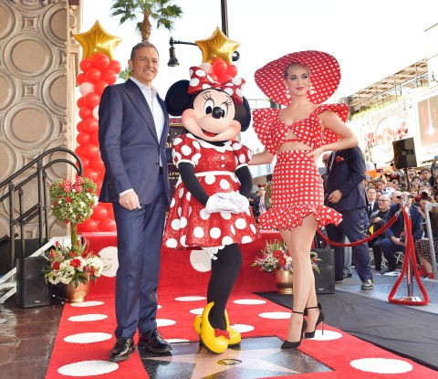 LOS ANGELES, CA - JANUARY 22: Disney Chairman and Chief Executive Officer Robert A. Iger and Katy Perry attend ceremony for Minnie Mouse as she receives Star on Hollywood Walk of Fame in Celebration of her 90th Anniversary at El Capitan Theatre on January 22, 2018 in Los Angeles, California. (Photo by Stefanie Keenan/Getty Images for Disney)