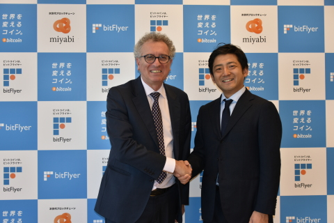 bitFlyer CEO, Yuzo Kano, with Luxembourg Minister of Finance, Pierre Gramegna. (Photo: Business Wire ...