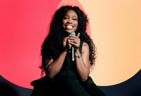 SZA speaks onstage during the celebration of Mastercard's Start Something Priceless Campaign at the  ...