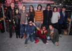 (1st Row) William Prince, Ruby Ibarra, Noe Socha,Victoria Canal, Venancio Bermudez, Felipe Contreras, Jimmy Conde and Johnny Santana of The Track and (2nd Row) Isaiah Radke, Solomon Radke, Dee Radke of the musical group Radke attend the celebration of Mastercard's Start Something Priceless Campaign at the launch of the Mastercard House on January 22, 2018 in New York City. (Photo by Cindy Ord/Getty Images for Mastercard)