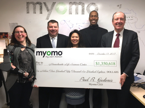 Myomo presented the MLSC with a check to reflect repayment of an accelerator loan. Pictured (left to right): MyoPro user Jessica Peters; Myomo Senior Controller Shawn Burke; MLSC Vice President of Finance Cheryl Sadeli; MLSC President and CEO Travis McCready; Myomo Chairman and CEO Paul Gudonis. (Photo: Business Wire)