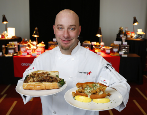 Aramark Senior Executive Chef at U.S. Bank Stadium James Mehne created signature sandwiches for Super Bowl LII celebrating hometown flavors of the Philadelphia Eagles (South Philly Roast Pork Sandwich), left, and New England Patriots (New England Clam Roll), right. (Photo: Business Wire)