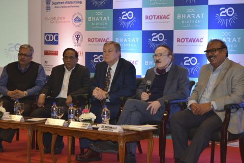 (L to R) Neeraj Jain, Director, PATH, Dr. TS Rao, Sr. Advisor, Department of Biotechnology, Mr. Duncan Steele, Deputy Director, The Bill and Melinda Gates Foundation, Dr. Krishna Ella, CMD, Bharat Biotech - announcing details about Bharat Biotech's ROTAVAC - India's 1st WHO Prequalified Rotavirus Vaccine in New Delhi, India (Photo: Business Wire)