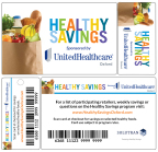 Program participants receive a Healthy Savings card in the mail. After the card is activated online at HealthySavingsOxford.com, participants can purchase prequalified healthy foods from more than 200 food and beverage brands. Healthy Savings can reduce monthly grocery bills for eligible users by more than $150 (Courtesy of UnitedHealthcare and Solutran).