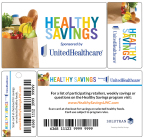Program participants receive a Healthy Savings card in the mail. After the card is activated online at HealthySavingsUHC.com, participants can purchase prequalified healthy foods from more than 200 food and beverage brands. Healthy Savings can reduce monthly grocery bills for eligible users by more than $150 (Courtesy of UnitedHealthcare and Solutran).