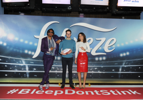 Bethenny Frankel and Nick Cannon meet the star of Febreze's new Super Bowl ad campaign, a fecal anomaly named Dave, center, the only man in the world whose #BleepDontStink, Thursday, Jan. 25, 2018, in New York. The campaign reminds people that Dave and his odorless bleep won't be in attendance at their Super Bowl parties and encourages them to prepare for game time by purchasing Febreze. To find out more about the man whose #BleepDontStink, please visit www.youtube.com/febreze. (Photo by Diane Bondareff/Invision for Febreze/AP Images)
