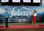 Bethenny Frankel and Dave, the star of Febreze's new Super Bowl ad campaign and the only man in the world whose #BleepDontStink, get into the Super Bowl spirit at Febreze's pre-game party on January 25 in New York City. The campaign reminds people that Dave and his odorless bleep won't be in attendance at their Super Bowl parties and encourages them to prepare for game time by purchasing Febreze. To find out more about the man whose #BleepDontStink, please visit www.youtube.com/febreze (Photo by Diane Bondareff/Invision for Febreze/AP Images)