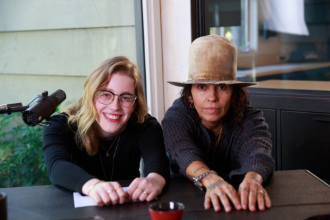"Singer-songwriter and record producer Linda Perry and singer Willa Amai pose for photo on the set of Intuit QuickBooks' film for ""Backing You"" Campaign. (Photo: Business Wire)"