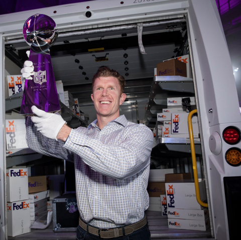 As the Official Delivery Service Sponsor of the NFL, FedEx ensured the safe and on-time delivery of the iconic Vince Lombardi Trophy to Super Bowl Experience Driven by Genesis today in time for Super Bowl LII on Saturday, Jan. 27, 2018 in Minneapolis, Minn. Matt Birk, two-time All-Pro center, Super Bowl XLVII Champion, and St. Paul, MN native, helped with the final delivery at the Minneapolis Convention Center. (Photo: Business Wire)