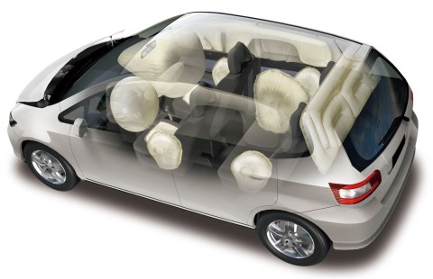 Various types of airbags; 360-degree full surround airbags protect passengers from impacts from all directions (Graphic: Business Wire)