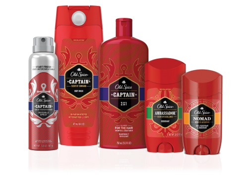New Old Spice Red Collection in Captain, Nomad and Ambassador premium scents, available in anti-perspirants, deodorants, body washes, body sprays and shampoos, proving that a premium, daily scent experience can be accessible to all guys, without breaking the bank. (Photo: Business Wire)