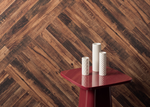 Wilsonart Laminate | Diagonal Amber Chestnut | Material Celebration (Photo: Business Wire)