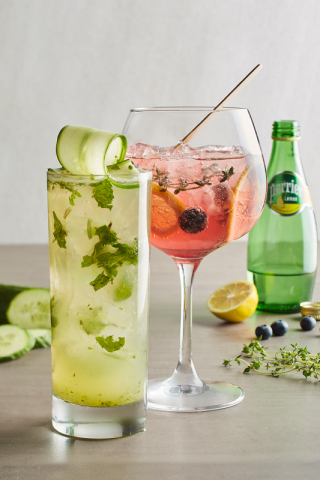 California Pizza Kitchen's newest seasonal beverages include the refreshing Spiked Cucumber, made with your choice of vodka, rum or gin, hand-shaken with freshly puréed pineapple and cucumber, Monin Cucumber, torn mint and agave sour topped with sparkling water; and the non-alcoholic, low-calorie Sparkling Berry-Lemon, with Perrier Lemon Sparkling Water with a light berry flavor, fresh lemon, blueberries and thyme. (Photo: California Pizza Kitchen and Waterbury Publications)