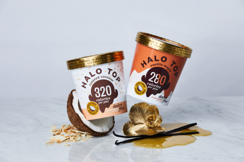 Halo Top Creamery expands the company's vegan lineup with five fan favorites and two brand-new non-dairy flavors – Toasted Coconut and Vanilla Maple. (Photo: Business Wire)