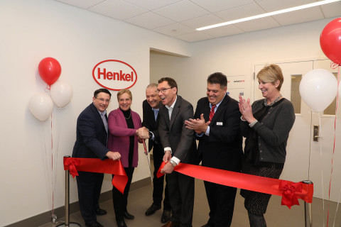 Pictured at Henkel's Laundry & Home Care and Beauty Care R&D facility opening in Trumbull, Conn.: Charles Crawford, Vice President, R&D for Henkel Laundry & Home Care; Vicki Tesoro, First Selectman of Trumbull; Thomas Mueller-Kirschbaum, Global Head of R&D for Henkel Laundry & Home Care; Thomas Foerster, Global Head of R&D for Henkel Beauty Care; State Representative David Rutigliano; and State Representative Laura Devlin. (Photo: Business Wire)