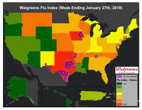 Walgreens Flu Index for Week Ending January 27, 2018. (Graphic: Business Wire)