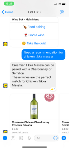 Lidl's chatbot advises a customer on what pairs best with Chicken Tikka Masala. (Photo: Business Wire)