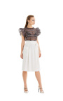 The JILL Jill Stuart collection, created for Macy's, features the feminine romanticism meets downtown edge aesthetic Jill Stuart's eponymous line is renowned for. Ruffle top, $99, and faux wrap lace skirt, $99, available in select Macy's stores and on macys.com. (Photo: Business Wire)