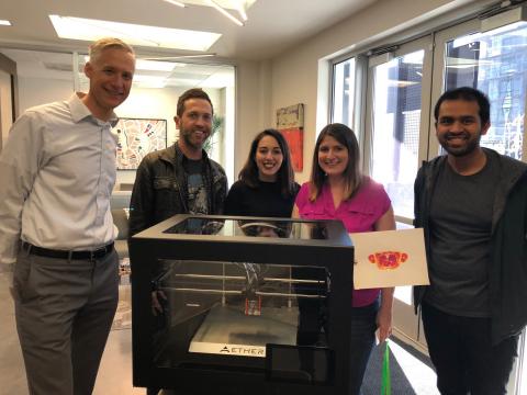 (Left to Right) QB3@953 Director Robert Blazej with Aether CEO Ryan Franks, Marissa Buell, Science Director Karen Dubbin, and Sanjay Srinivas. (Photo: Business Wire)