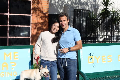 Bettina Ho and Gino Sesto in front of Bus Bench Ads (Photo: Business Wire)