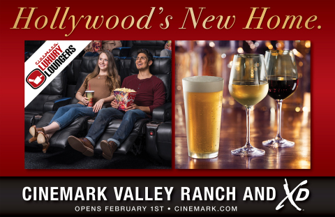 The Cinemark Valley Ranch and XD Theatre features an XD auditorium, Luxury Lounger recliners and an expanded concessions menu. (Graphic: Business Wire)