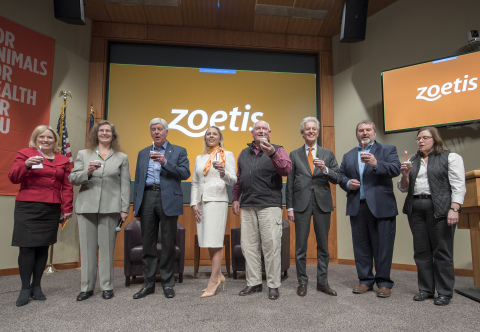Zoetis, the leading animal health company, celebrated its 5th anniversary since becoming a public company. Zoetis executives hosted national and state officials for a town hall for more than 500 employees at its global research and development headquarters in Kalamazoo, Mich. Left to right are: Michigan State Senator Margaret O'Brien; Dr. Catherine Knupp, President Research and Development at Zoetis; Governor Rick Snyder of Michigan; Kristin Peck, President, U.S. Operations at Zoetis; U.S. Secretary of Agriculture Sonny Perdue; Juan Ramón Alaix, Chief Executive Officer at Zoetis; Carl Bednarski, President, Michigan Farm Bureau; Jamie Clover Adams, Director, Michigan Department of Agriculture and Rural Development (Photo: Business Wire)