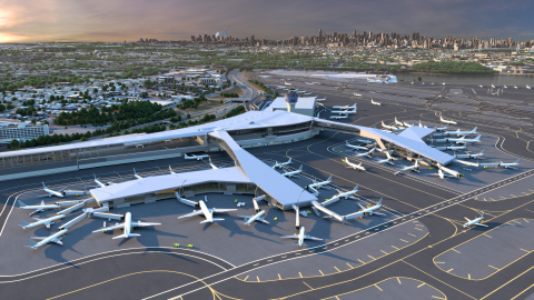 A rendering of the future Central Terminal B at LaGuardia International Airport. (Photo: Business Wi ...