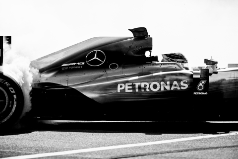 The TOMMY HILFIGER logo featured on the Mercedes-AMG Petronas Motorsport car. Photographed by Mikael Jansson.