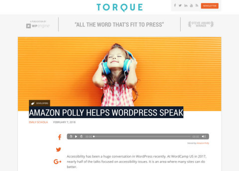 WP Engine today announced its collaboration with Amazon Web Services to launch the Amazon Polly plugin, which transforms text into lifelike speech. (Photo: Business Wire)
