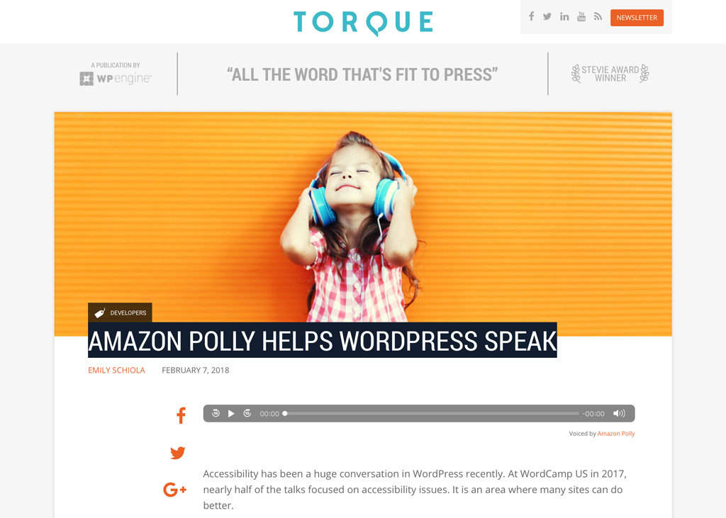 WP Engine Uses Amazon Web Services to Bring Voice Technology to