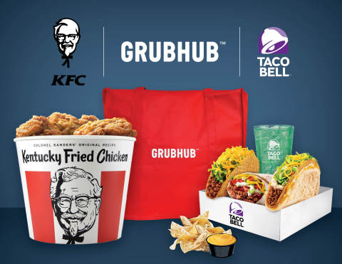 Yum! Brands, one of the world's largest restaurant companies, and Grubhub, the nation's leading online and mobile takeout food-ordering company, today announced a new partnership to drive incremental sales to KFC and Taco Bell restaurants in the U.S. through online ordering for pickup and delivery. (Photo: Business Wire)