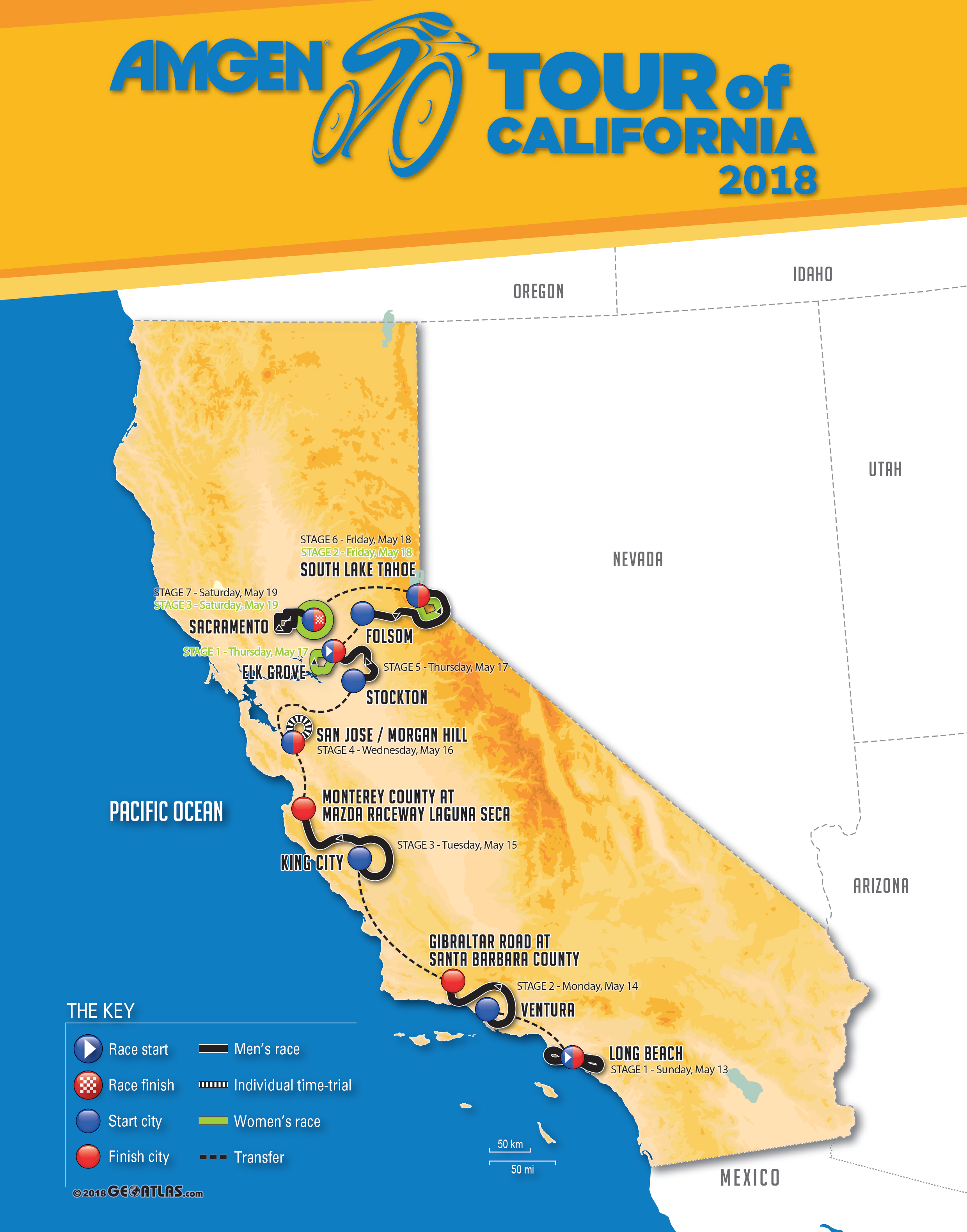 2018 Amgen Tour of California Mens and Womens Race Routes